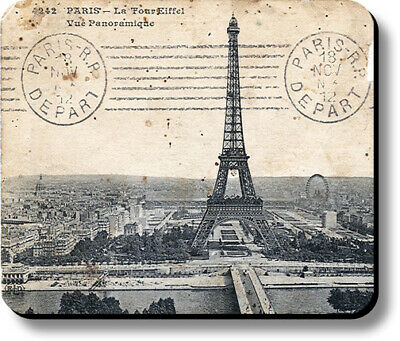 Mouse Pad Eiffel Tower Paris Stamped Postcard Non-Slip 1/8in or 1/4in Thick