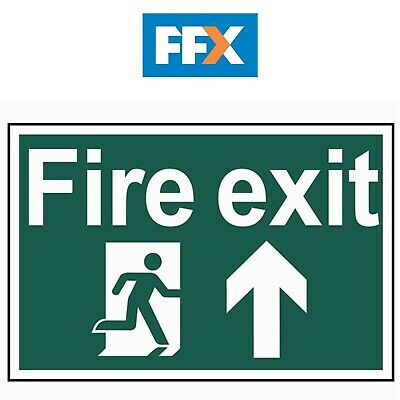 Scan SCA1505 'Fire Exit Running Man Arrow Up' Sign - PVC - 300mm x 200mm