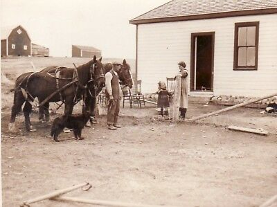Emigrant Farmers Family Horses Dog fermiers chevaux chien old Photo 1920's