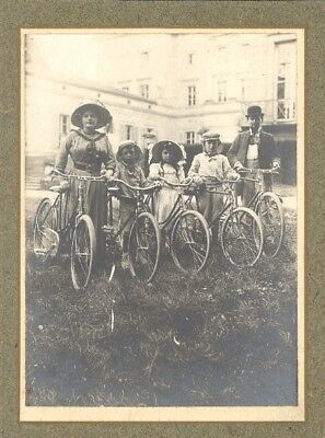 France Family Cycling Sunday Promenade old Photo 1900 Promenade Famille Vélo