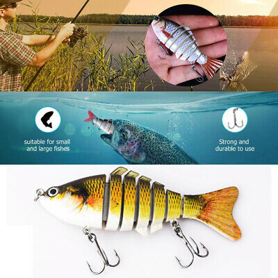 7 Jointed Bass Lures Sections Fishing Lure Life-like Crankbait Bait Tackle New