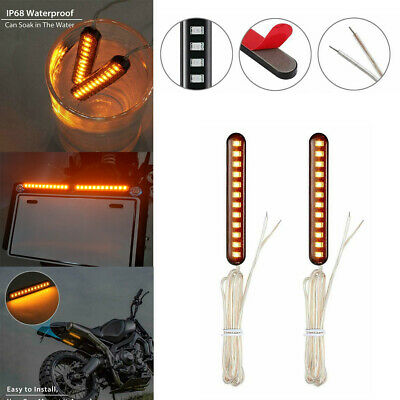 4pcs Amber Mini Sequential Car Strips Turn Signal Light Water Flowing 12 LED