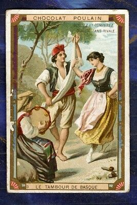 chromo Poulain Tambour Basque Tambourine Danse Dance dancers Old Trade card