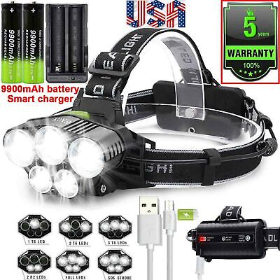250000LM T6 LED Headlamp Rechargeable Head Light Flashlight Torch Lamp Camping