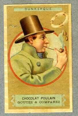 chromo Poulain Gaufré Embossed Dunkerque marin pipe Herold vintage Trade card