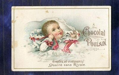chromo Poulain relief bébé baby naissance birth Embossed Vintage Trade card