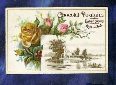chromo Poulain relief paysage roses jaunes & roses Embossed Vintage Trade card