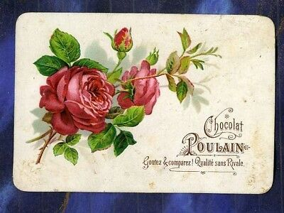 chromo Poulain en relief gaufré red roses rouges embossed Victorian trade card
