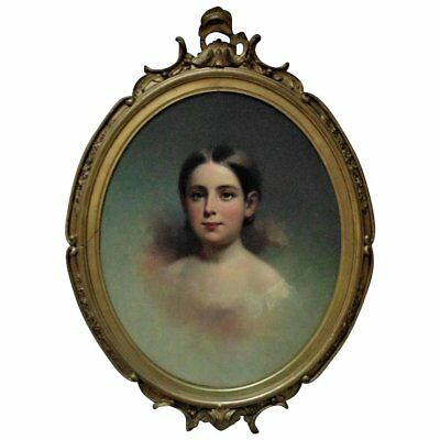 19c Victorian Portrait Painting Girl Young Lady Samuel Bell Waugh Oil on Board