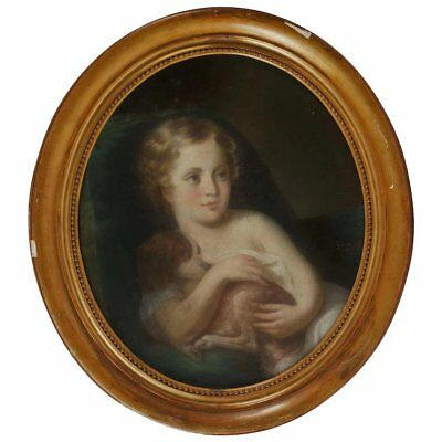 19th c. Pastel Portrait Girl Child & Dog Style of Jean Baptiste Greuze Antique