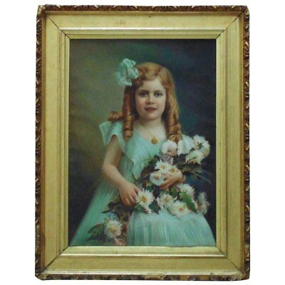 Antique Pastel Portrait Girl Child w/ Flowers Signed Antrim Landsy '09 Painting
