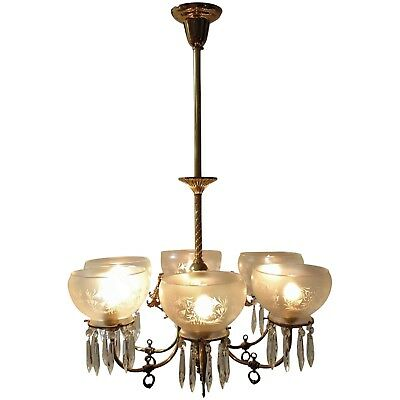 Fancy Antique Brass Gas Chandelier Converted to Electric Light Fixture Gasolier