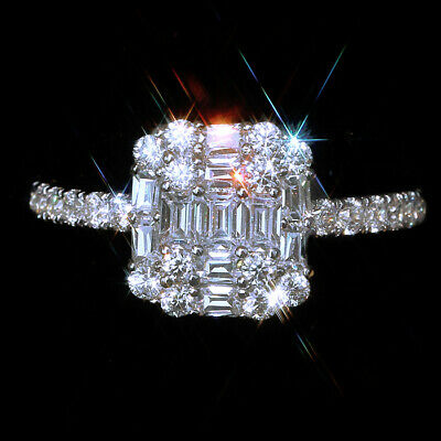 1Ct 100%Natural Diamond 10K White Gold Cocktail Wedding Ring EFFECT 2Ct RWG179-2