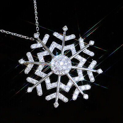 1Ct 100% Natural Diamond 10K Gold Cluster Snowflake Necklace EFFECT 2Ct PWG103-2