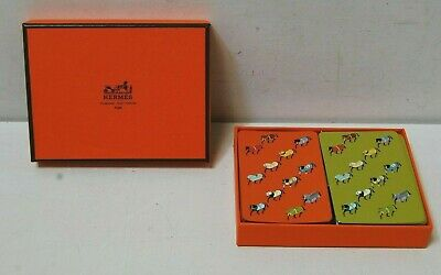 Hermes Playing Cards 2 Decks Horses Orange & Green Gold Edged - Preowned
