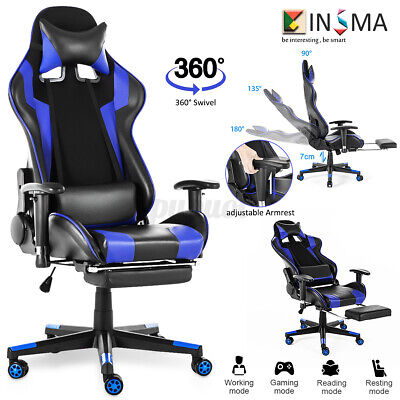 Office Gaming Racing Chair 180° Lying Recliner Leather Adjust Seat Swivel US