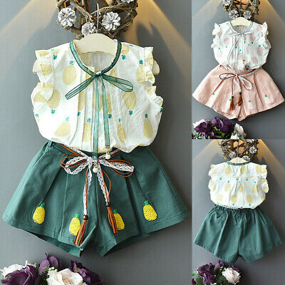 2PCS Toddler Kids Baby Girl Outfits Clothes Pineapple Vest shirt Tops+Shorts Set
