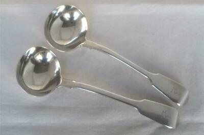 LARGE & HEAVY PAIR OF SOLID SILVER VICTORIAN SAUCE LADLES LONDON 1843 135 grams