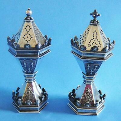 SUPERB 1897 Pair of Victorian Sterling SILVER Salt & Pepper Shakers by GARRARD!