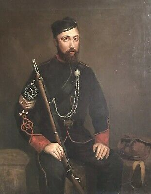 Large 19Th Century Oil On Canvas - Soldier Seated In Full Uniform With Musket