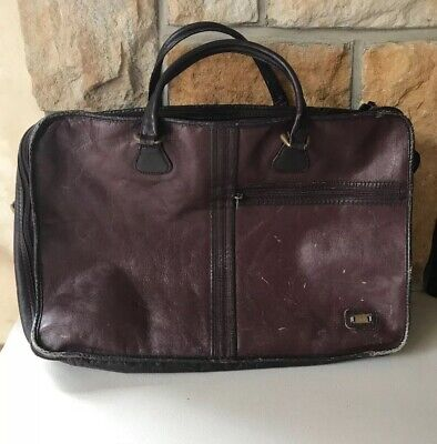 """""""LAND"""" LEATHER Vintage Suitcase, Bag, Carry-On, Overnight,Satchel, Luggage *READ"""