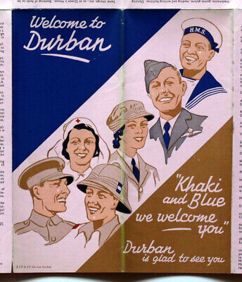 c1940s? Vintage Visitors Map of Durban Khaki and Blue HM Allied Forces S Africa