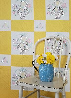 Pretty Vintage Cottage BASKETS Cheerful YELLOW 1930-40s QUILT 94x76