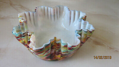 6 Franz Welz Art Deco cased swirl art glass crimped ribs jewel color bowls