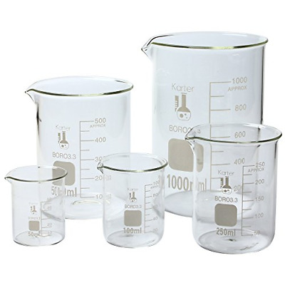 with Spout /& Printed Graduations Low Form Griffin Pack of 12 Karter Scientific 232R2, Borosilicate 3.3 Glass 300ml Beaker
