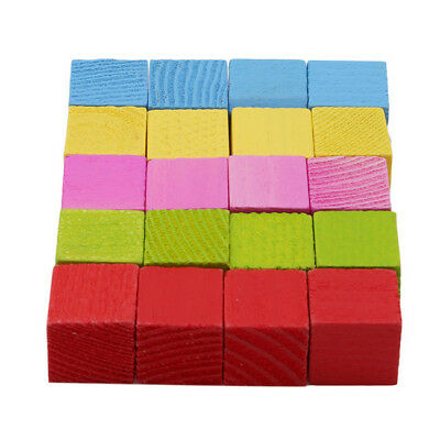 Colorful Wooden Stacking Up Building Blocks Square Cubes Baby Kids Stacking DB