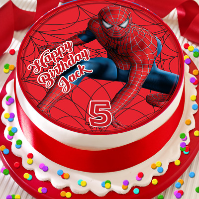 Excellent Spider Man Happy Birthday Personalised 7 5 Inch Edible Cake Topper Funny Birthday Cards Online Alyptdamsfinfo