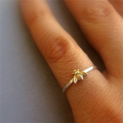 Simple Tiny Small Bee Ring Gold Hammered Band Stacking Rings For Women DB