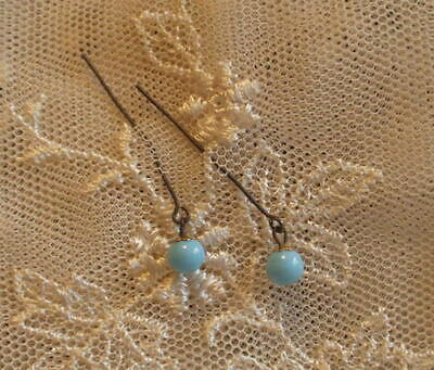 Small Jumeau Blue Earrings ~ Antique Doll Jewelry