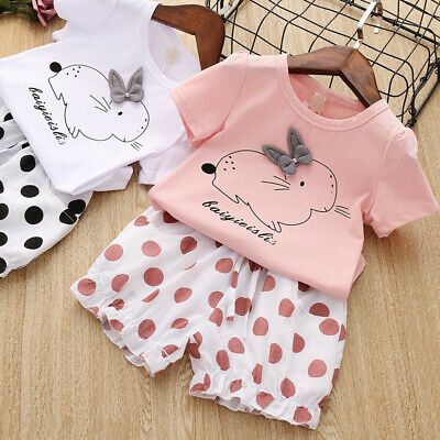 Toddler Baby Kids Girls Rabbit Bunny Casual Tops+Dot Short Pants Outfits