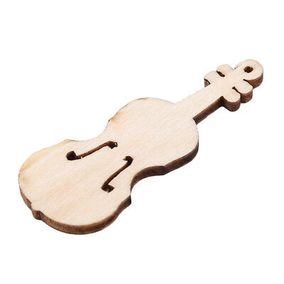 10 Pcs Wooden Unfinished Violin Shape Cutout Chips Ornament Wedding Decorative