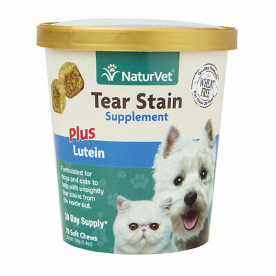 Pet Tear Stain Dog Cat Eye Care Support Supplements With Lutein 70ct Soft Chews