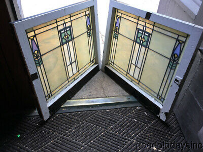 """Wonderful Pair of Arts & Crafts Antique Stained Leaded Glass Windows  30"""" by 25"""""""