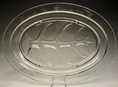 "Vintage PYREX Crystal Glass Engraved Floral Cutting Oval Platter 15"" long USA"