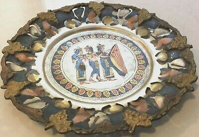 Vintage Egyptian Egypt Cut Out Copper Wall Plaque Dish Middle East