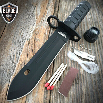 """9"""" Tactical Hunting Rambo BLACK Fixed Blade Knife Military Bowie +Survival Kit W"""