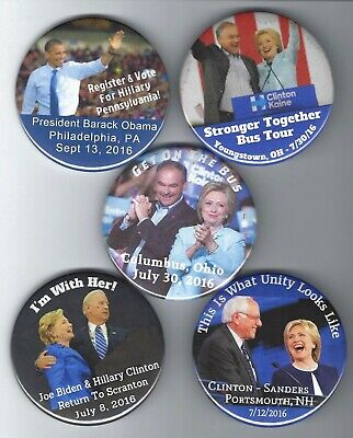 2016 Hillary Clinton, Obama, Kaine & Sanders Campaign Bus Tour Pin Collection