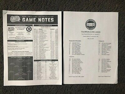 15/5/2019.OFFICIAL PRESS PACK/T/SHEET   NEW ENGLAND REVOLUTION v CHELSEA BOSTON