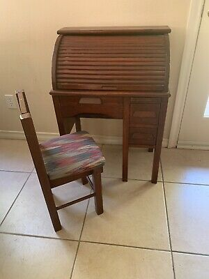 Vintage/Antique Child Roll Top Desk With Chair