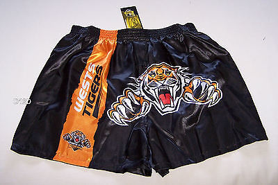 Wests Tigers NRL Mens Black Satin Boxer Shorts Size XXL New