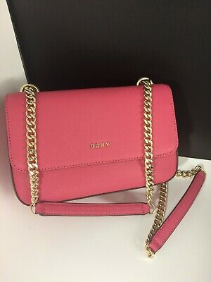 39c0f2f4eeb8 New DKNY Sina Small Pink Flap Shoulder Bag Crossbody Chain Straps MSRP: $178