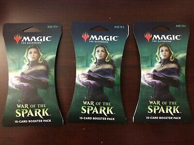 x3 magic the gathering War Of The Spark 15 Card Booster Pack