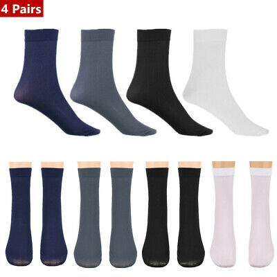 4 Pairs Mens Sexy Summer Crew Socks Elastic Silky Ultra Thin Breathable Gift