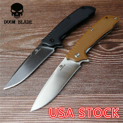 "7.9"" FH11 60-61HRC Knives Ball Bearing D2 Blade G10 Handle Folding Knife Camping"