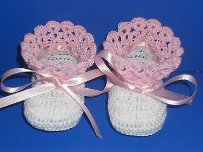 47c3b5278ee8d CROCHET BABY INFANT Girl Christening Booties Shoes White - $12.00 ...