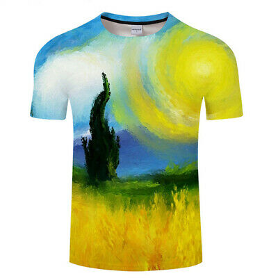 Women Men T-Shirt 3D Print Short Sleeve Tee Tops Oil painting Scenery Casual
